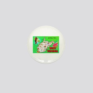 West Virginia Map Greetings Mini Button