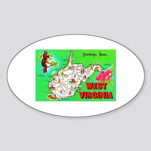 West Virginia Map Greetings Sticker (Oval)