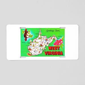 West Virginia Map Greetings Aluminum License Plate