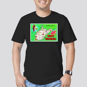 West Virginia Map Greetings Men's Fitted T-Shirt (