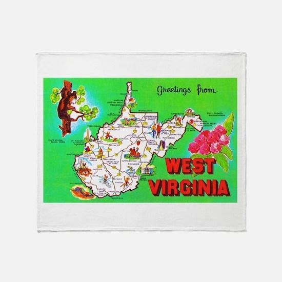 West Virginia Map Greetings Throw Blanket