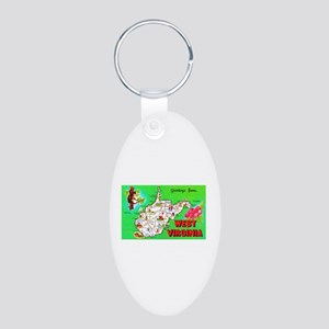 West Virginia Map Greetings Aluminum Oval Keychain
