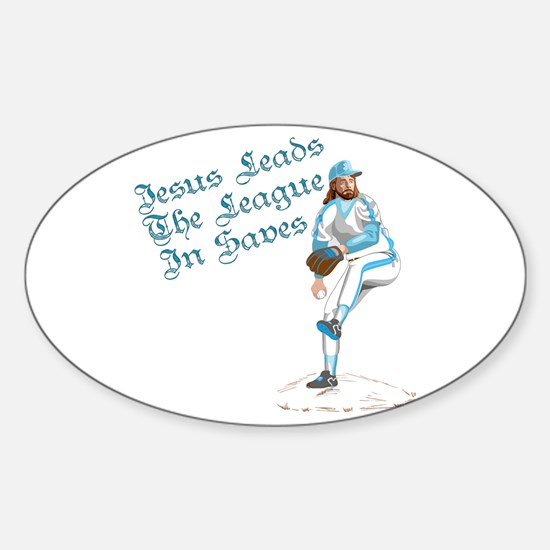 Jesus Leads The League In Sav Oval Decal