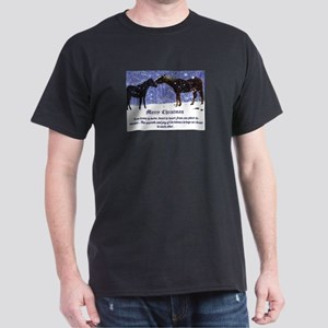 Merry Christmas Snow Horses Dark T-Shirt