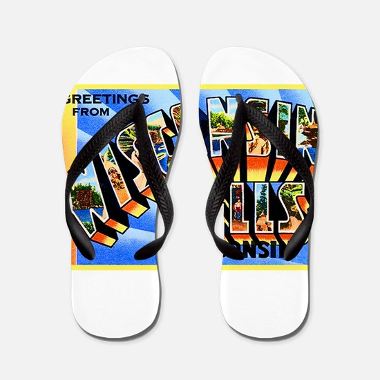 Wisconsin Dells Greetings Flip Flops