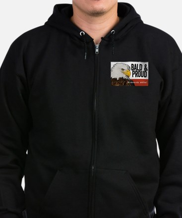 "Bald Eagle ""Bald & Proud"" Zip Hoodie (dark)"