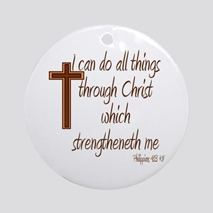 Philippians 4 13 Brown Cross Ornament (Round)