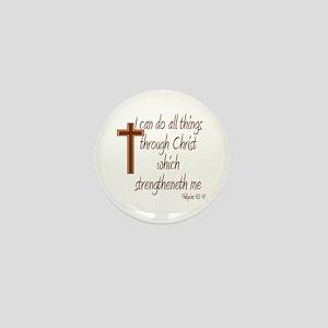 Philippians 4 13 Brown Cross Mini Button
