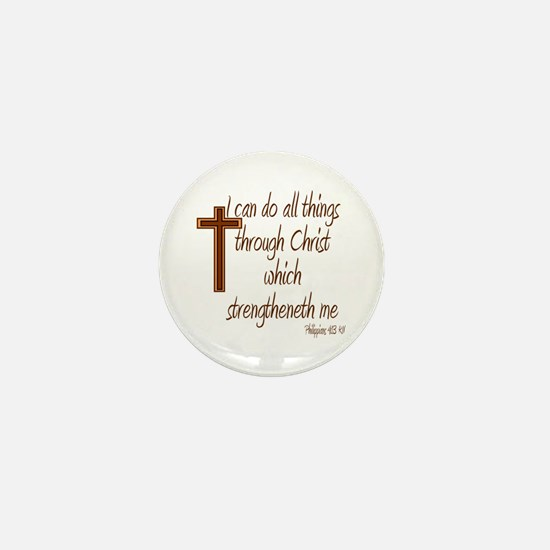 Philippians 4 13 Brown Cross Mini Button