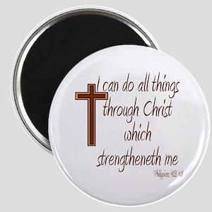 Philippians 4 13 Brown Cross Magnet
