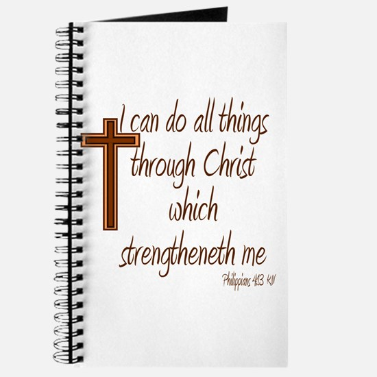 Philippians 4 13 Brown Cross Journal