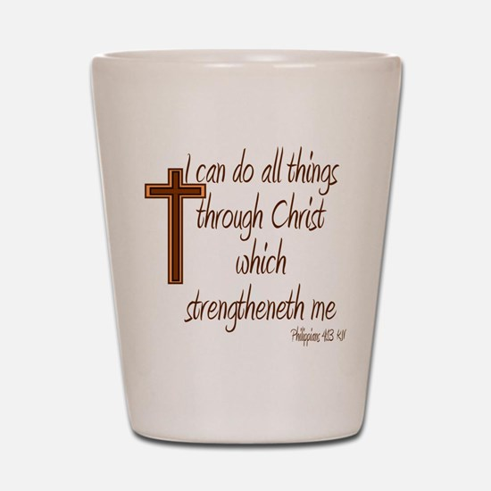 Philippians 4 13 Brown Cross Shot Glass