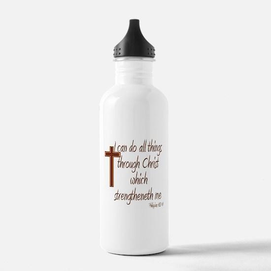 Philippians 4 13 Brown Cross Water Bottle