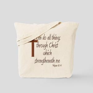 Philippians 4 13 Brown Cross Tote Bag