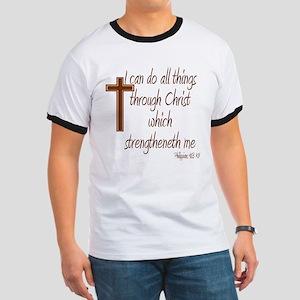 Philippians 4 13 Brown Cross Ringer T