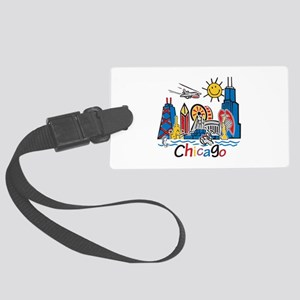 Chicago Cute Kids Skyline Large Luggage Tag