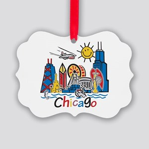 Chicago Cute Kids Skyline Picture Ornament