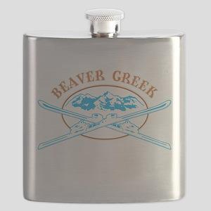 Beaver Creek Crossed-Skis Badge Flask