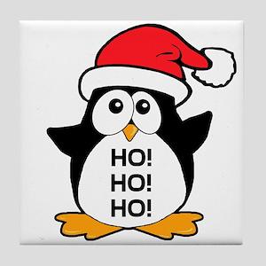 Cute Christmas Penguin Ho Ho Ho Tile Coaster