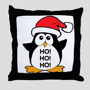 Cute Christmas Penguin Ho Ho Ho Throw Pillow