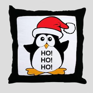 Cute Christmas Penguin Ho Ho Ho Throw Pillow