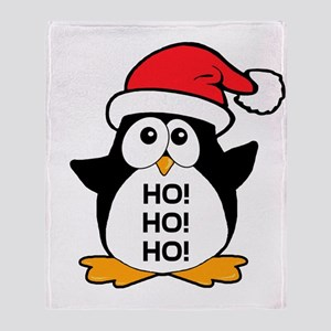 Cute Christmas Penguin Ho Ho Ho Throw Blanket