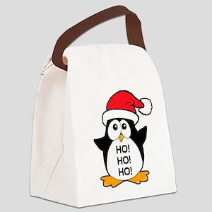Cute Christmas Penguin Ho Ho Ho Canvas Lunch Bag