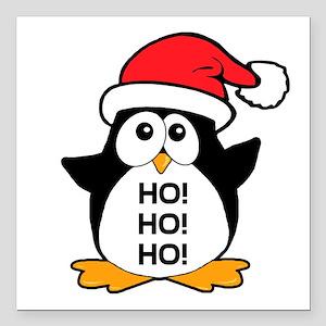 Cute Christmas Penguin Ho Ho Ho Square Car Magnet
