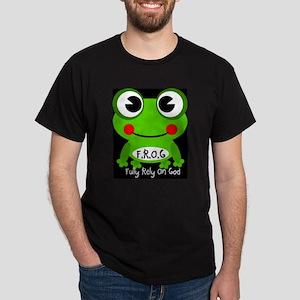 Cute Cartoon Frog Fully Rely On God F.R.O.G. Dark