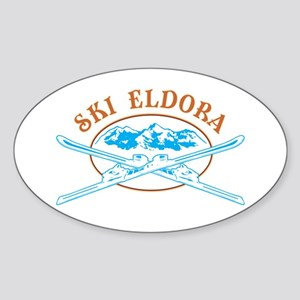 Eldora Crossed-Skis Badge Sticker (Oval)