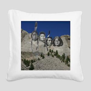 Native Mt. Rushmore Square Canvas Pillow
