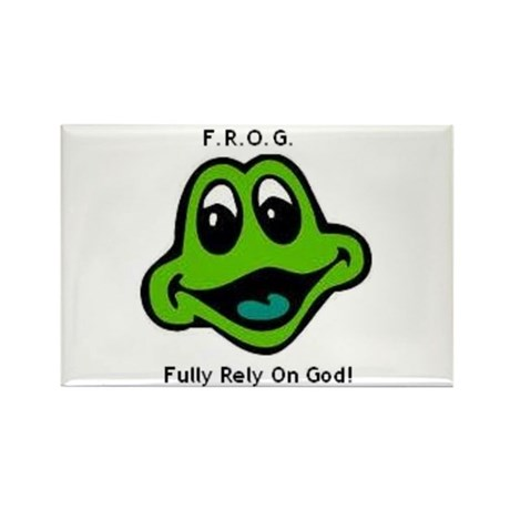 F.R.O.G. Fully Rely On God Frog Face Rectangle Mag
