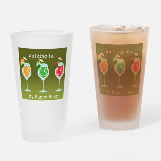 Walking is My Happy Hour (color) Drinking Glass