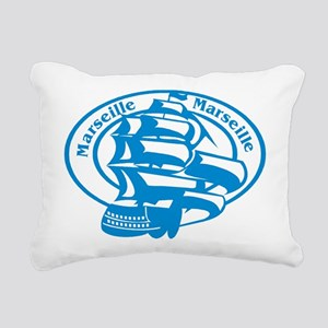 Marseille Passport Stamp Rectangular Canvas Pillow