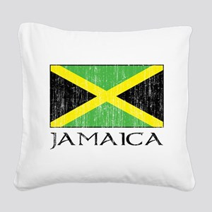 Jamaica Flag Square Canvas Pillow
