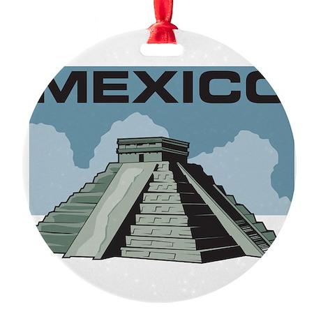 Mexico Pyramid Round Ornament