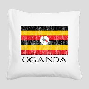 Ugandan Flag Square Canvas Pillow