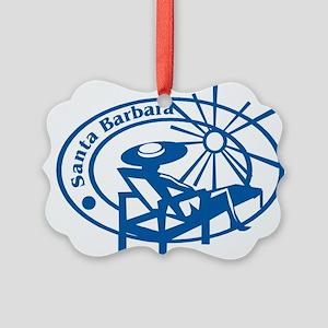 Santa Barbara Passport Stamp Picture Ornament
