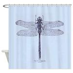 Vintage Dragonfly Blue Shower Curtain