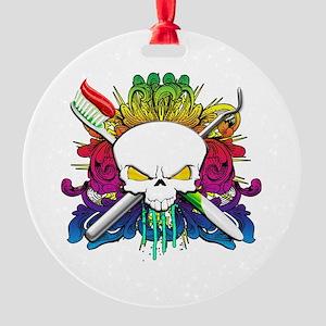 Dentist Pirate Skull Round Ornament