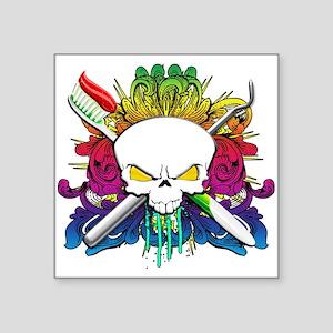 "Dentist Pirate Skull Square Sticker 3"" x 3"""