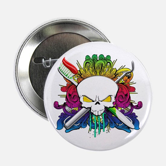 "Dentist Pirate Skull 2.25"" Button"