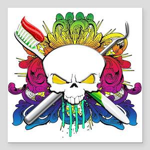 "Dentist Pirate Skull Square Car Magnet 3"" x 3"""