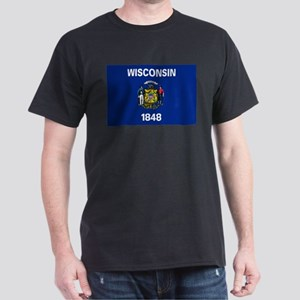 Wisconsin State Flag Dark T-Shirt