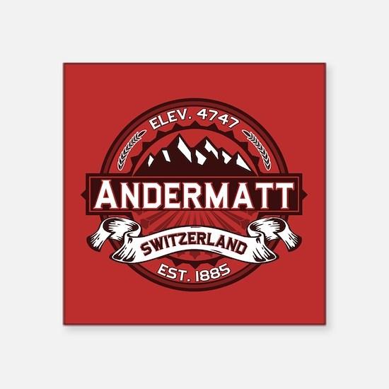 "Andermatt Red Square Sticker 3"" x 3"""