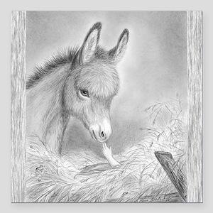 "Baby Jesus/Donkey~Square Car Magnet 3""x3&quot"