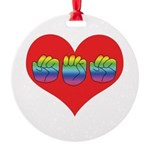 Mom Inside Big Heart Round Ornament
