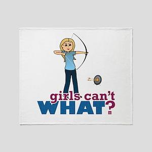 Archery Girl in Blue - Blonde Throw Blanket