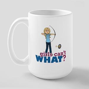 Archery Girl in Blue - Blonde Large Mug