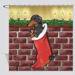 B&T Dachshund Xmas Shower Curtain